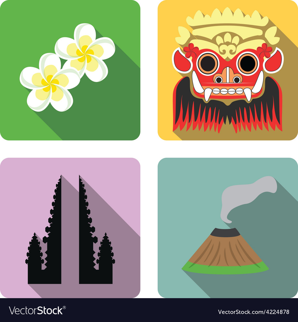 Bali set of flat icons vector | Price: 1 Credit (USD $1)