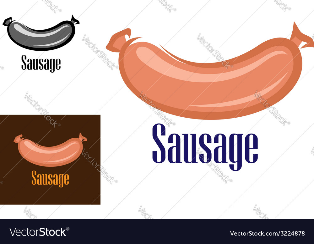 Colored sausage cartoon icon or logo vector | Price: 1 Credit (USD $1)