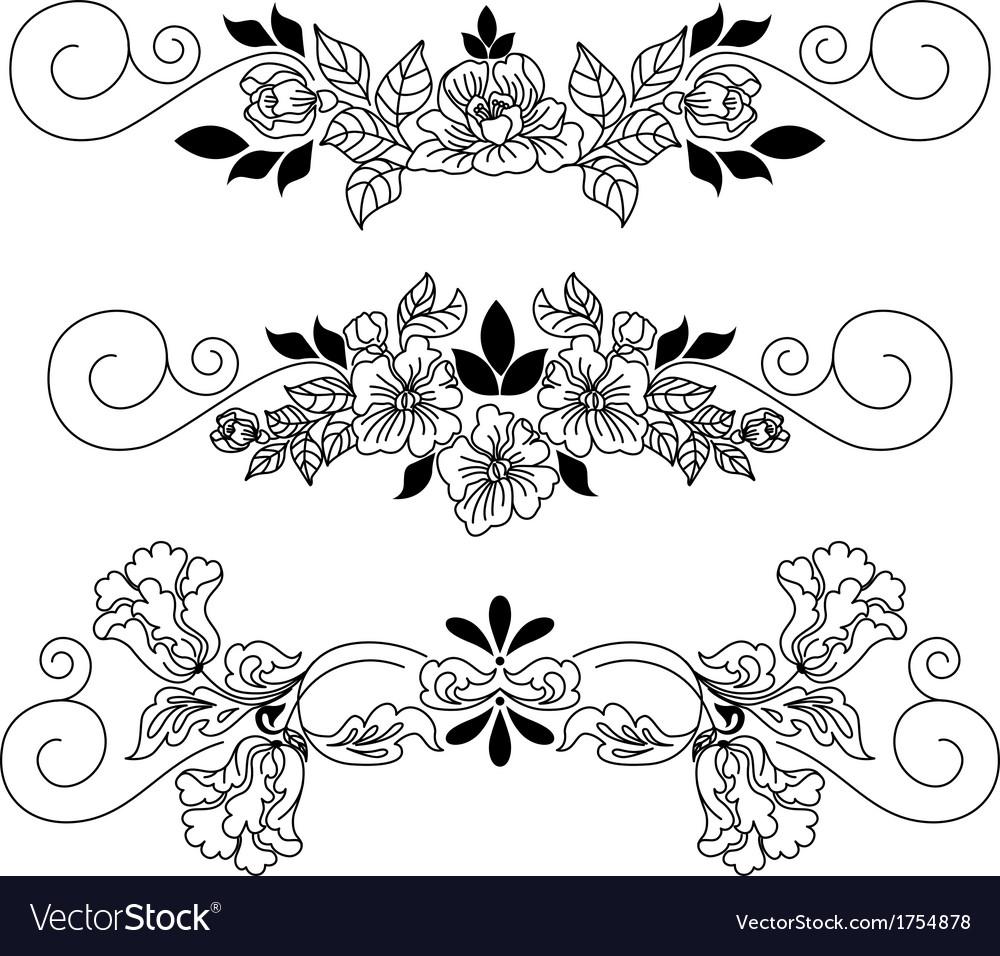 Drawing flowers vignette vector | Price: 1 Credit (USD $1)