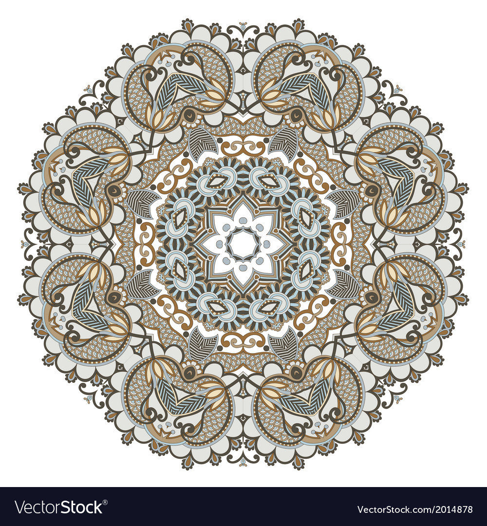 Floral circle ornament ornamental round lace vector | Price: 1 Credit (USD $1)