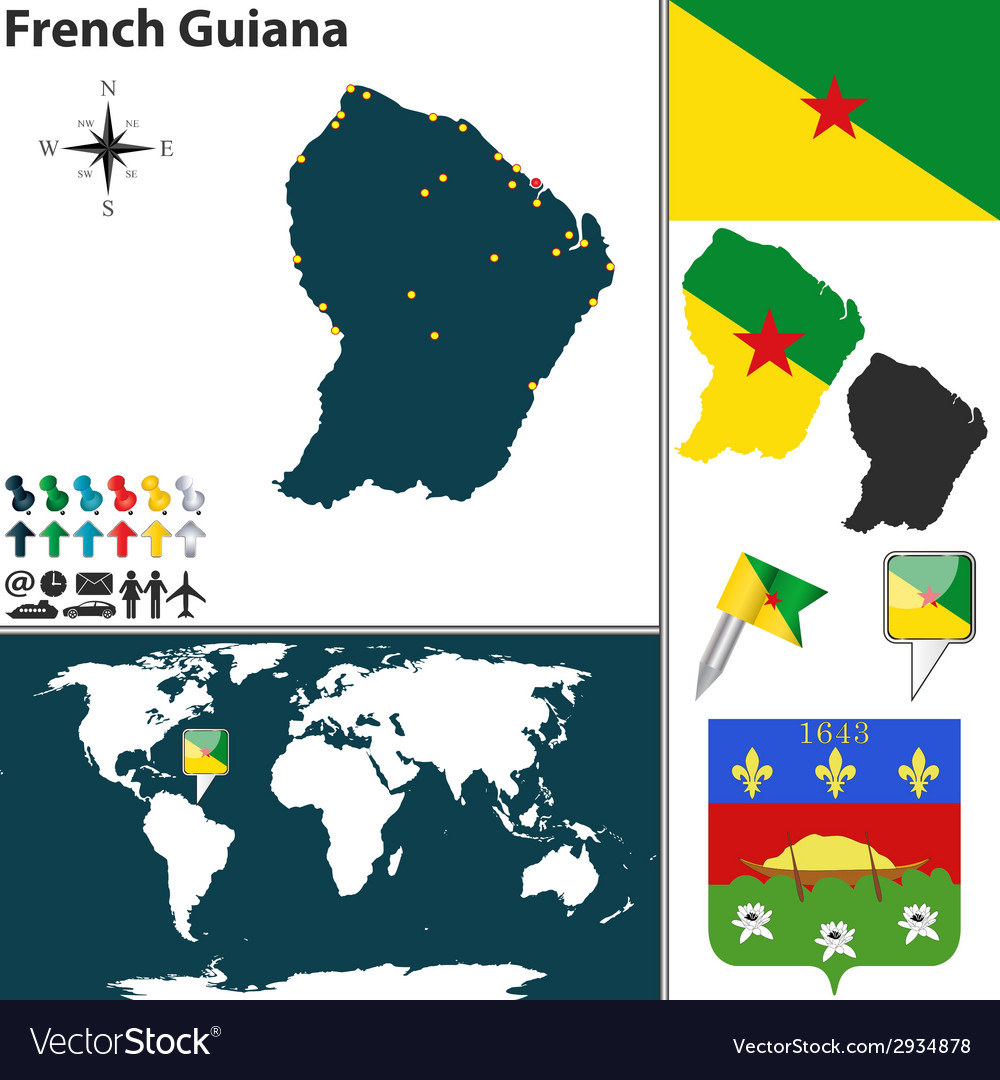 French guiana map world vector | Price: 1 Credit (USD $1)