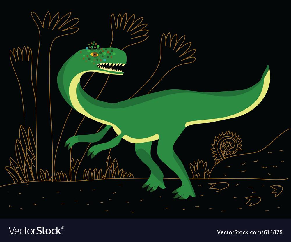 Green carnivore dinosaur vector | Price: 1 Credit (USD $1)