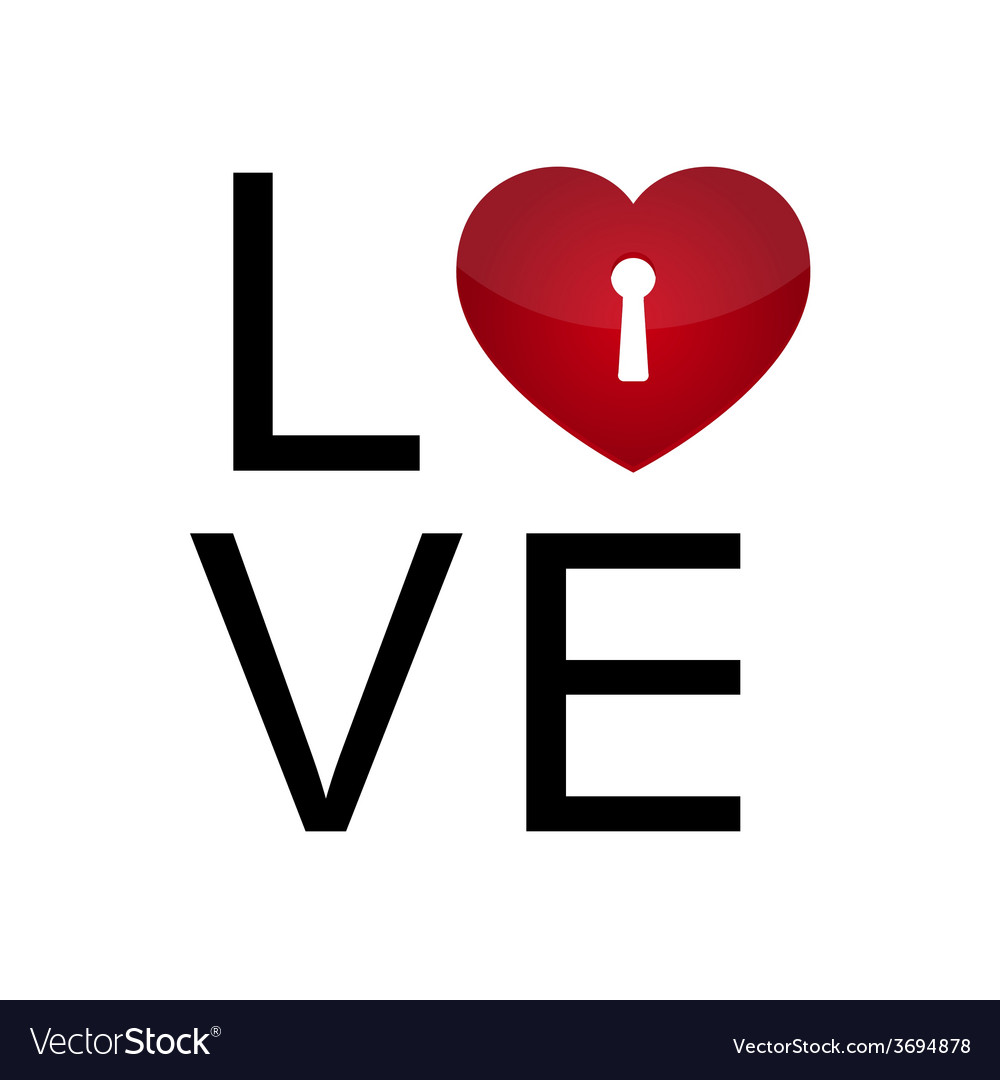 Love with keyhole heart vector | Price: 1 Credit (USD $1)