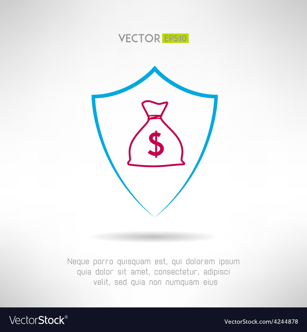 Money bag in a shield icon deposit safety concept vector | Price: 1 Credit (USD $1)