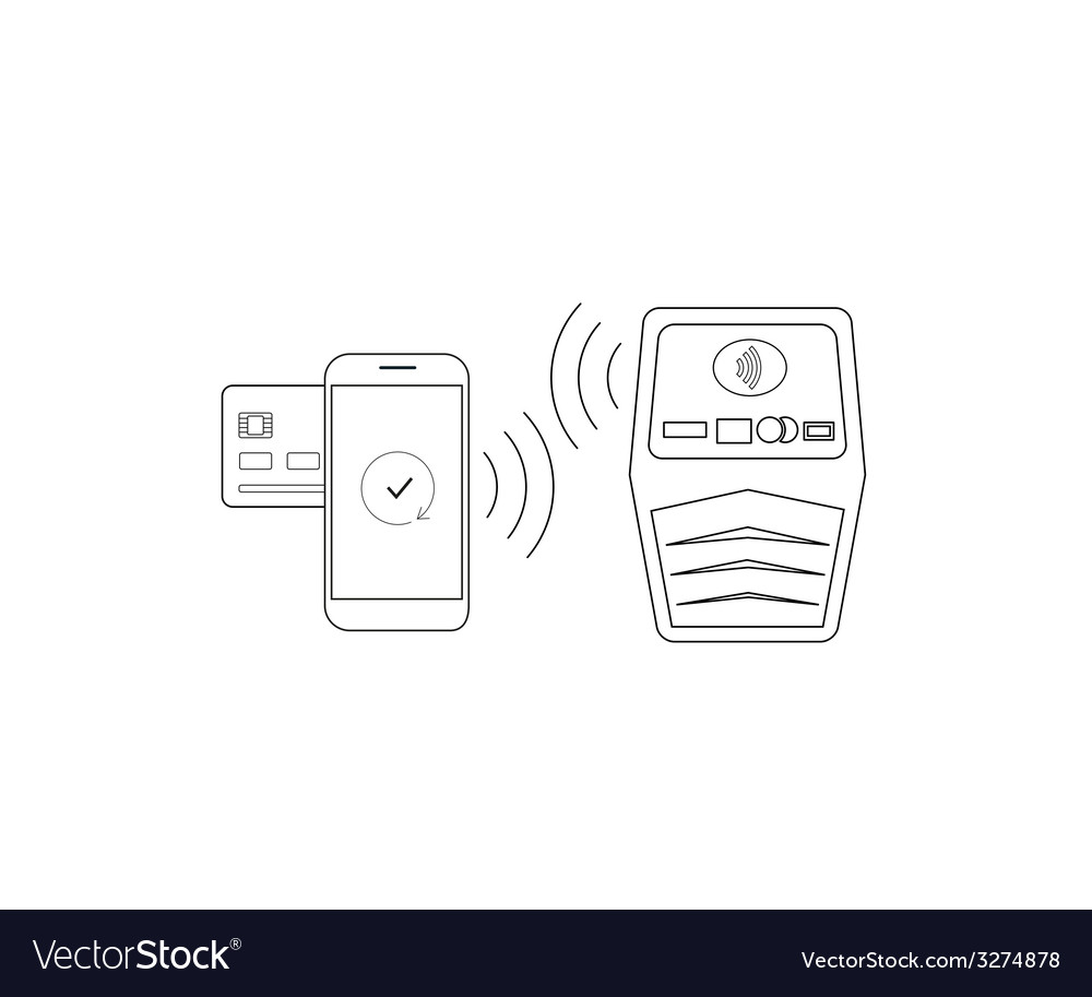 Payment by smartphone via nfc vector | Price: 1 Credit (USD $1)