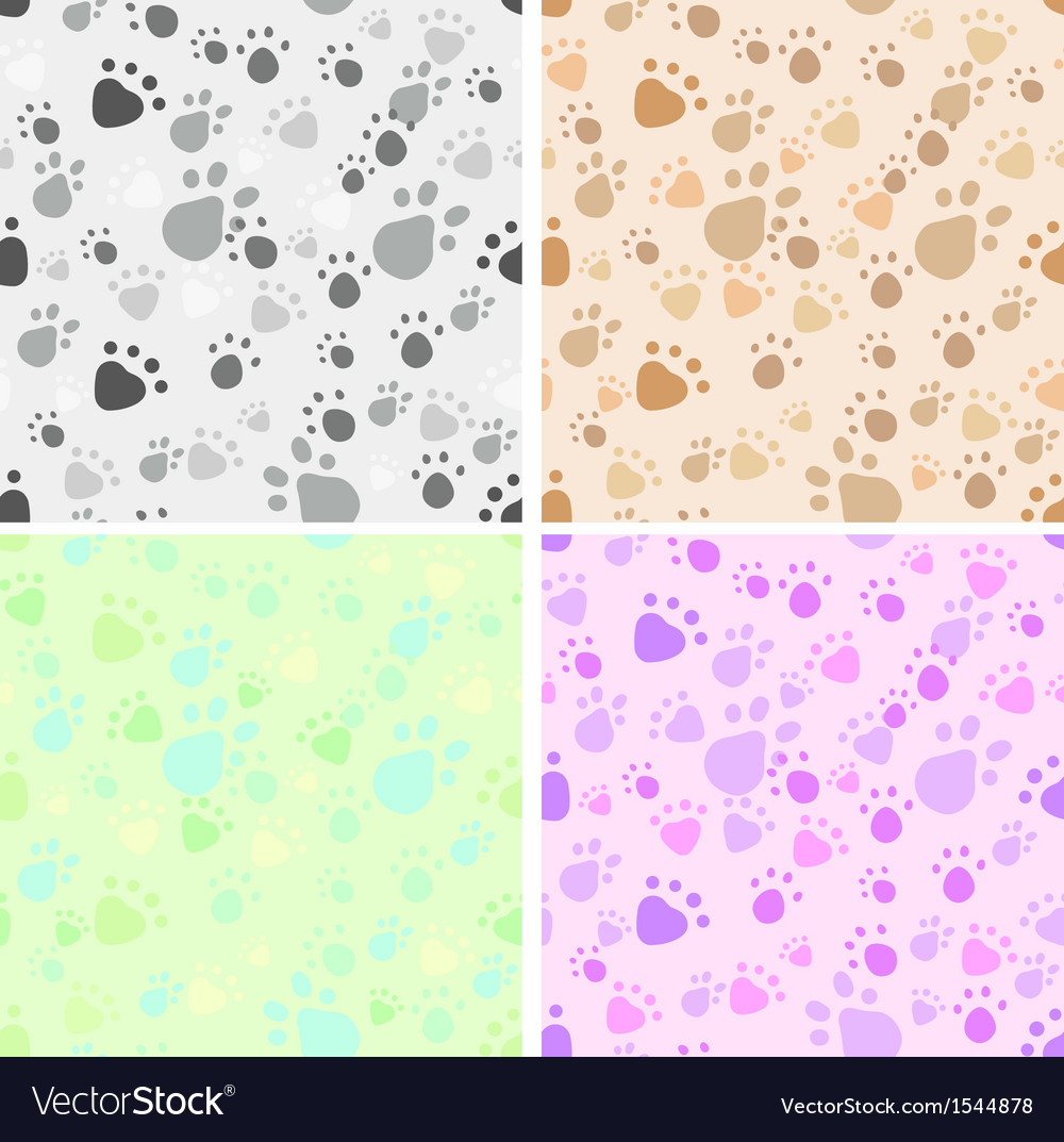 Pet legs imprint seamless set vector | Price: 1 Credit (USD $1)