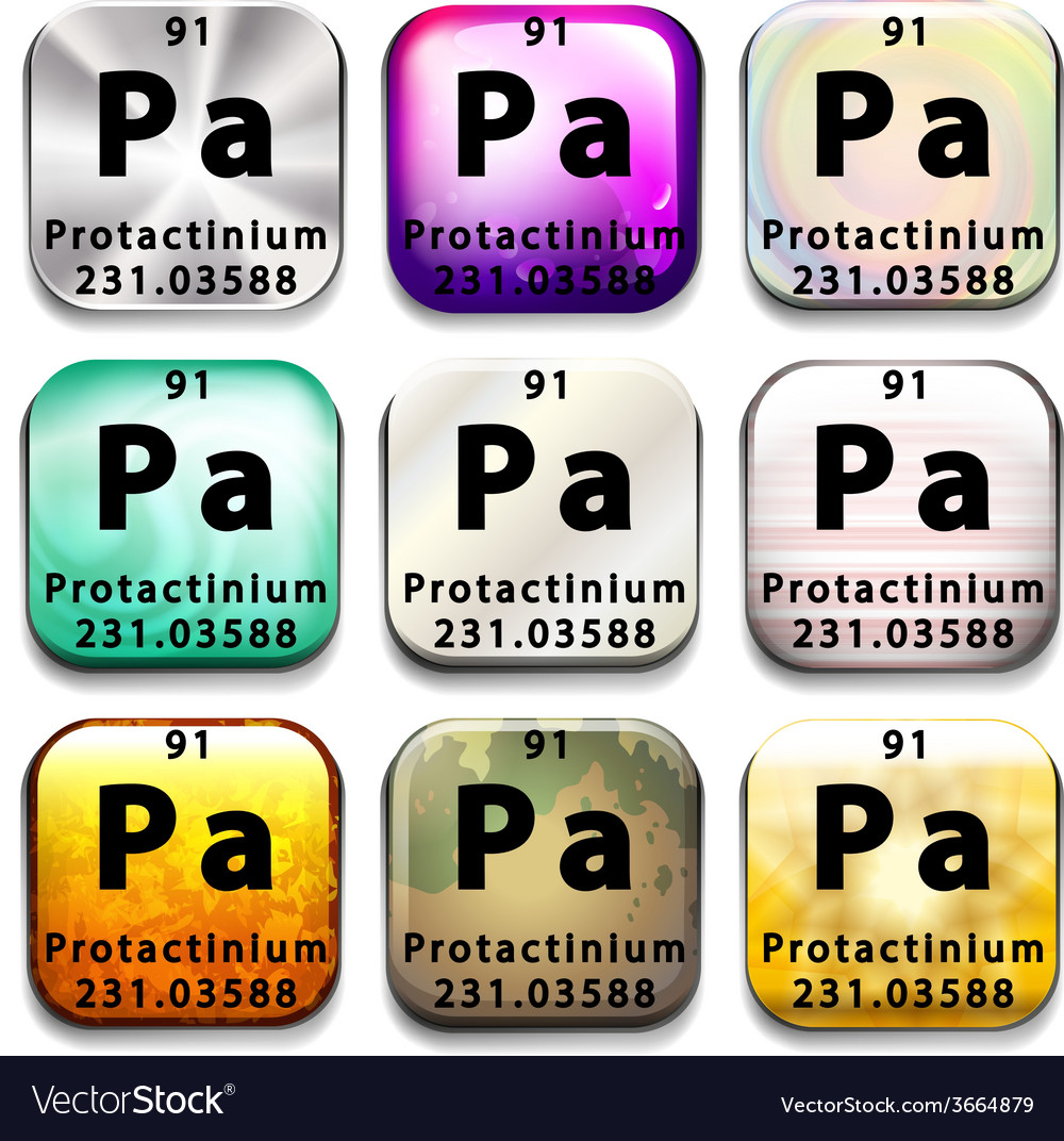 A periodic table button showing the protactinium vector | Price: 1 Credit (USD $1)
