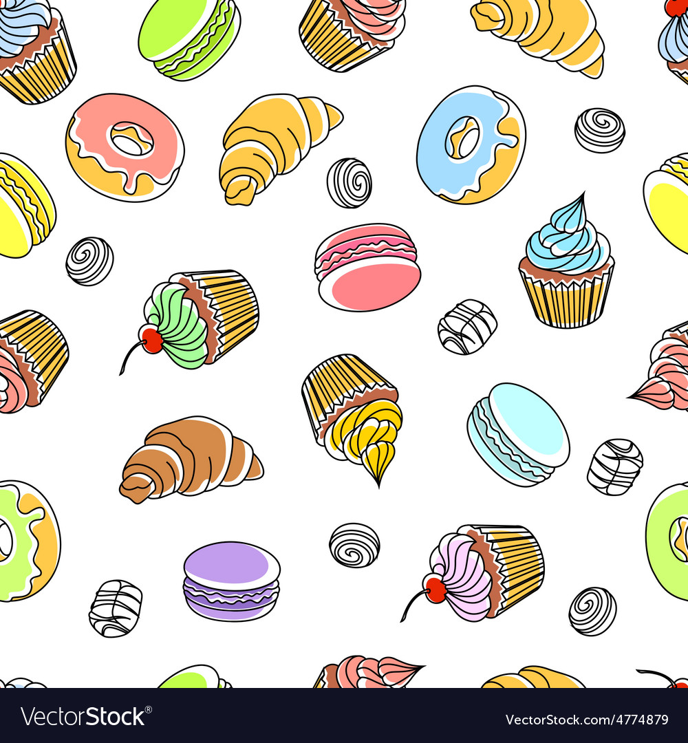 Cakes seamless pattern vector | Price: 3 Credit (USD $3)