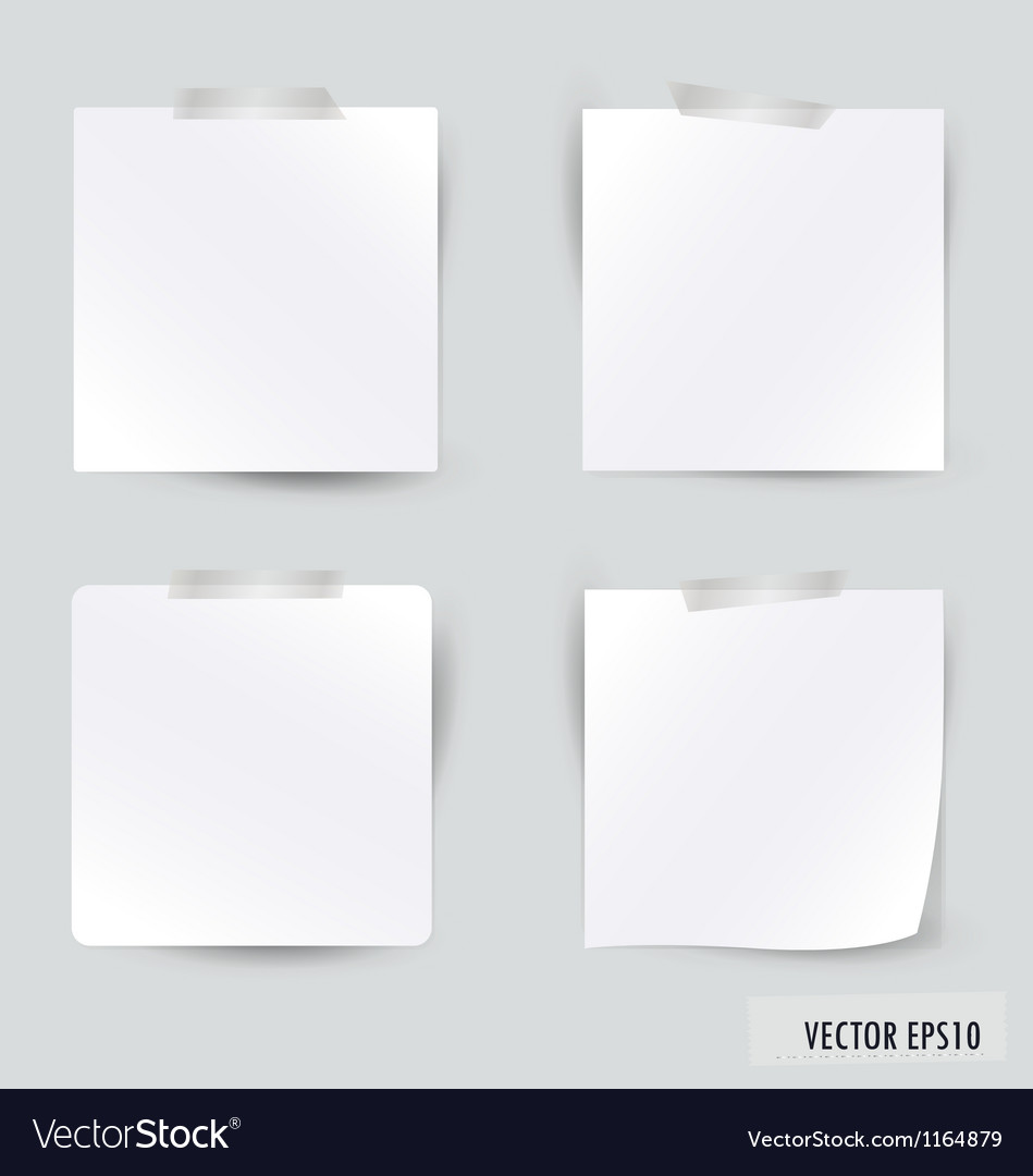 Collection of various white note papers vector | Price: 1 Credit (USD $1)