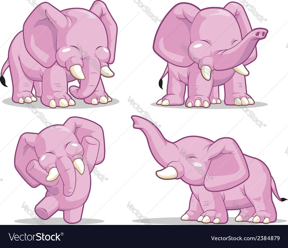 Elephant in several poses standing dancing vector | Price: 1 Credit (USD $1)