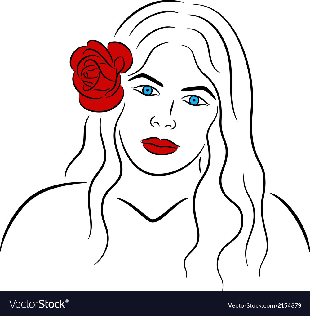 Face of girl vector | Price: 1 Credit (USD $1)