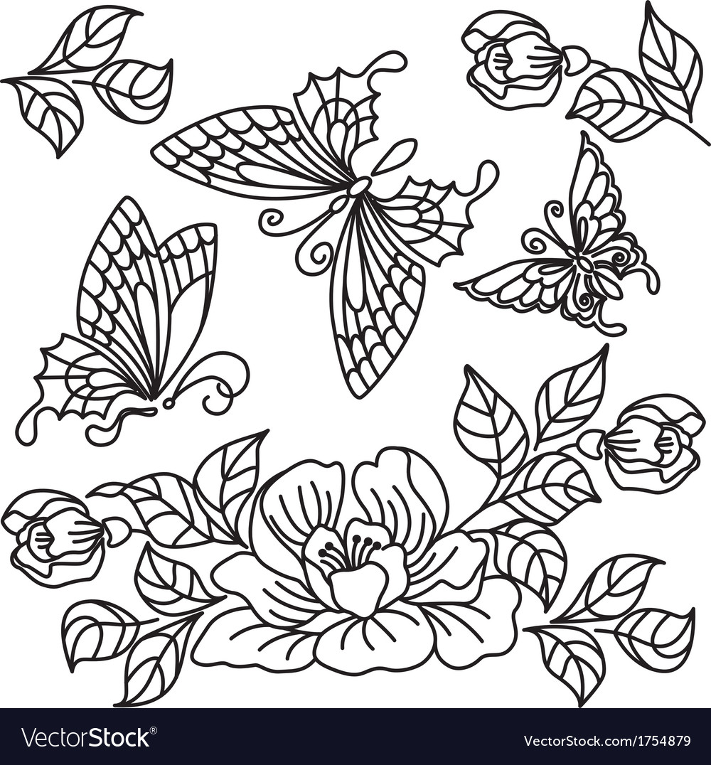 Flowers and butterfly 2 vector | Price: 1 Credit (USD $1)