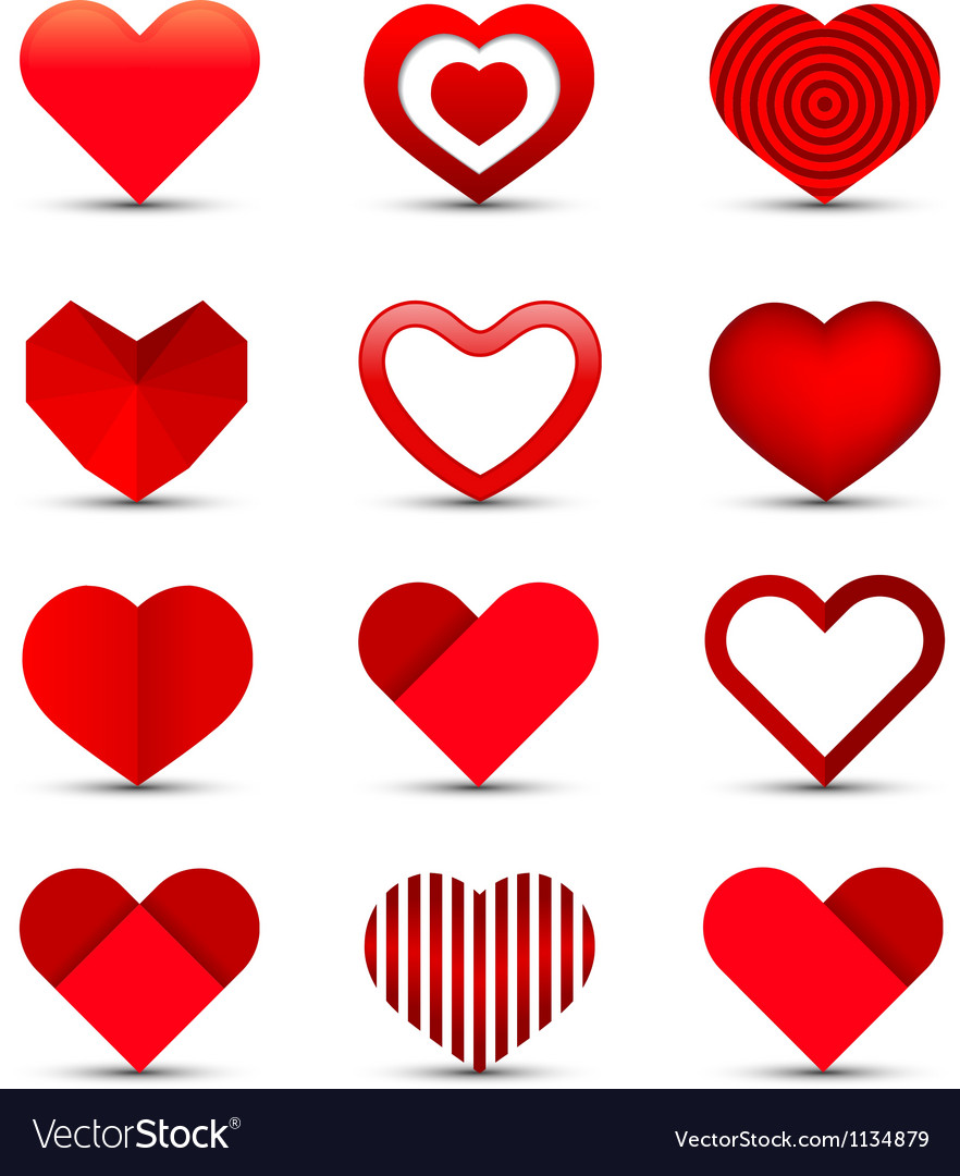 Heart icon set vector | Price: 1 Credit (USD $1)