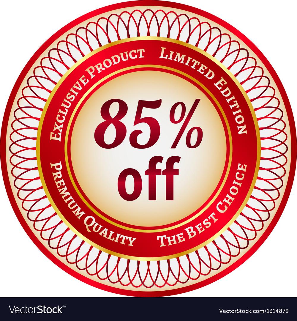 Label on 85 percent discount vector | Price: 1 Credit (USD $1)