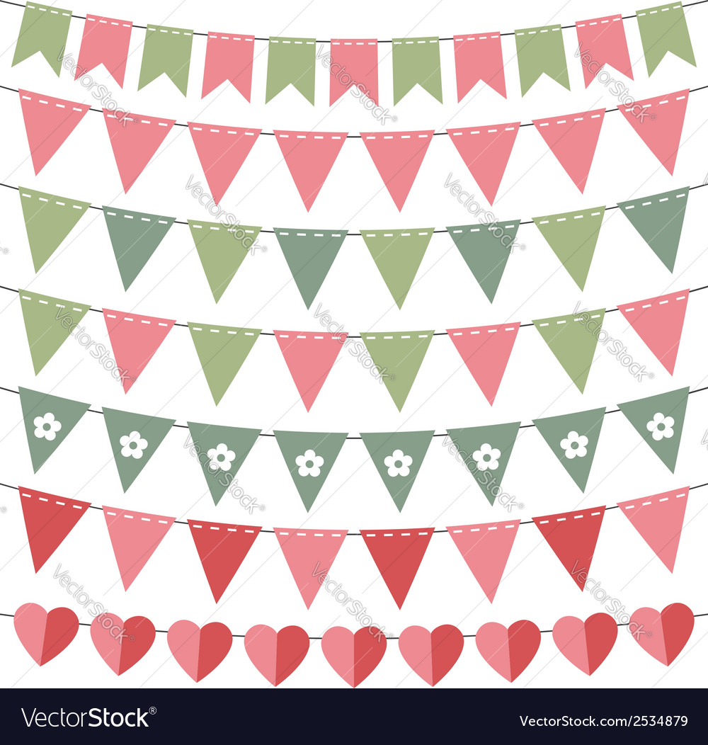 Pink and green bunting set vector
