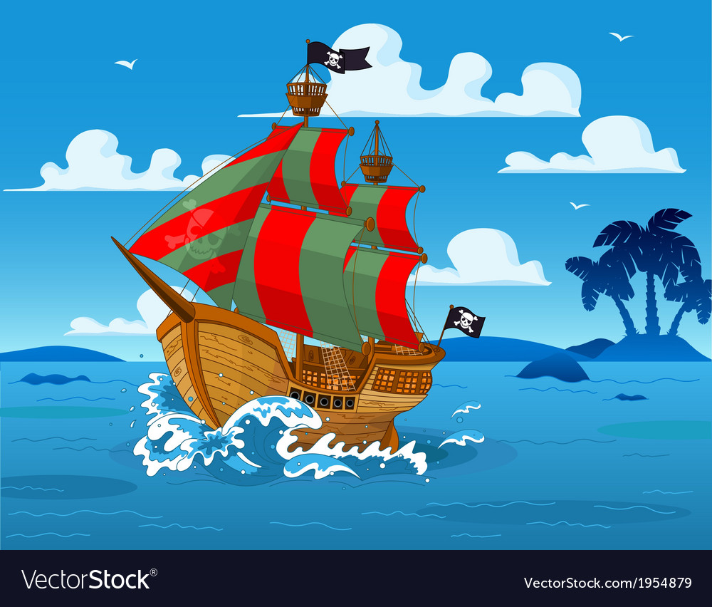 Pirate ship at sea vector | Price: 3 Credit (USD $3)