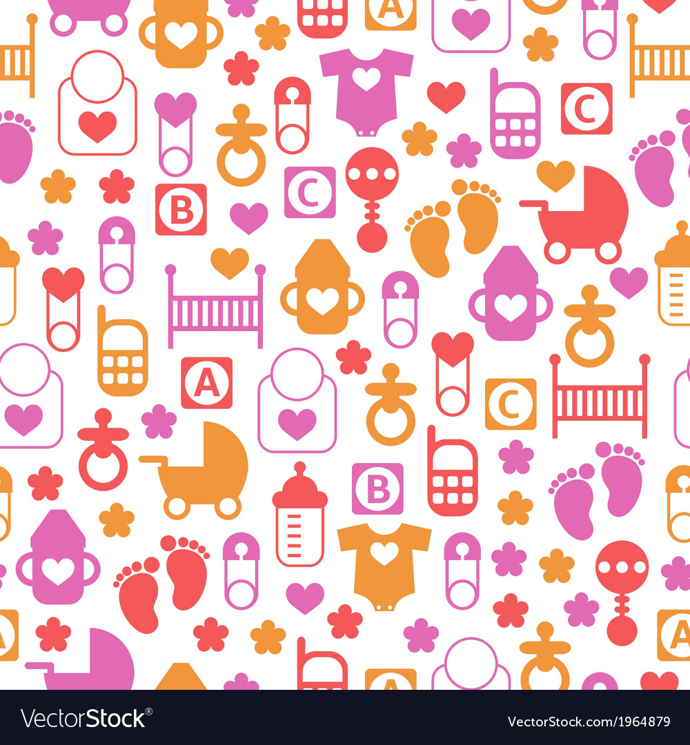 Seamless baby pattern endless background vector | Price: 1 Credit (USD $1)