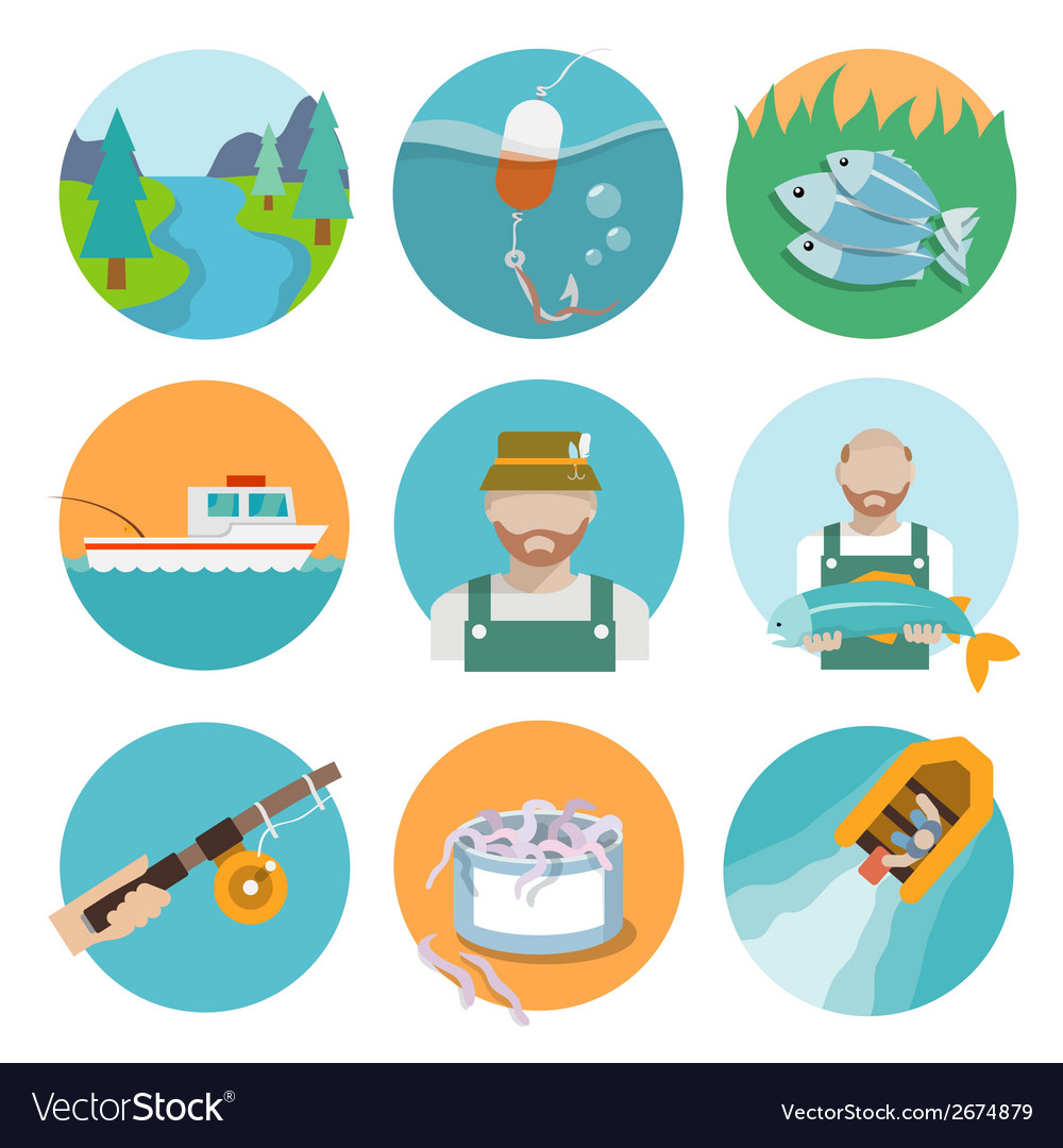 Set of fishing flat icons vector | Price: 1 Credit (USD $1)
