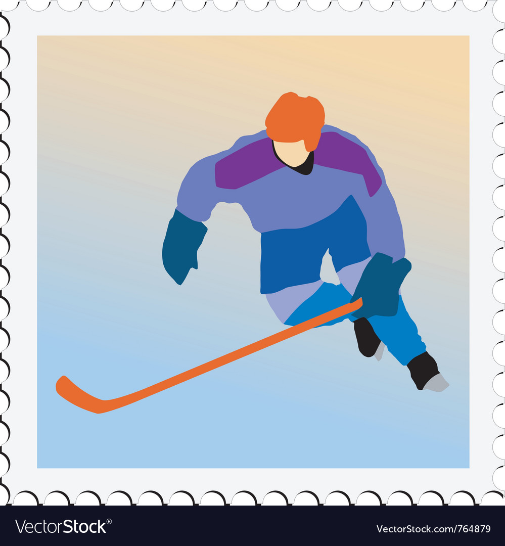 Stamp with image of hockey vector | Price: 1 Credit (USD $1)