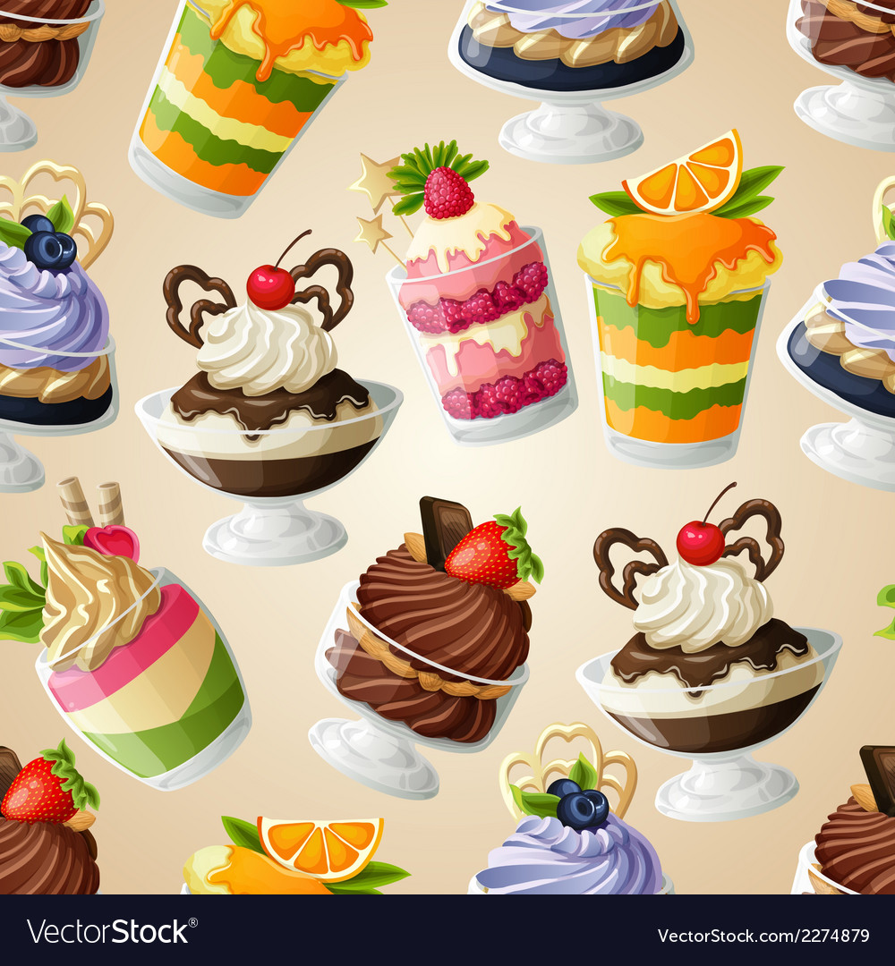 Sweets dessert seamless pattern vector | Price: 3 Credit (USD $3)