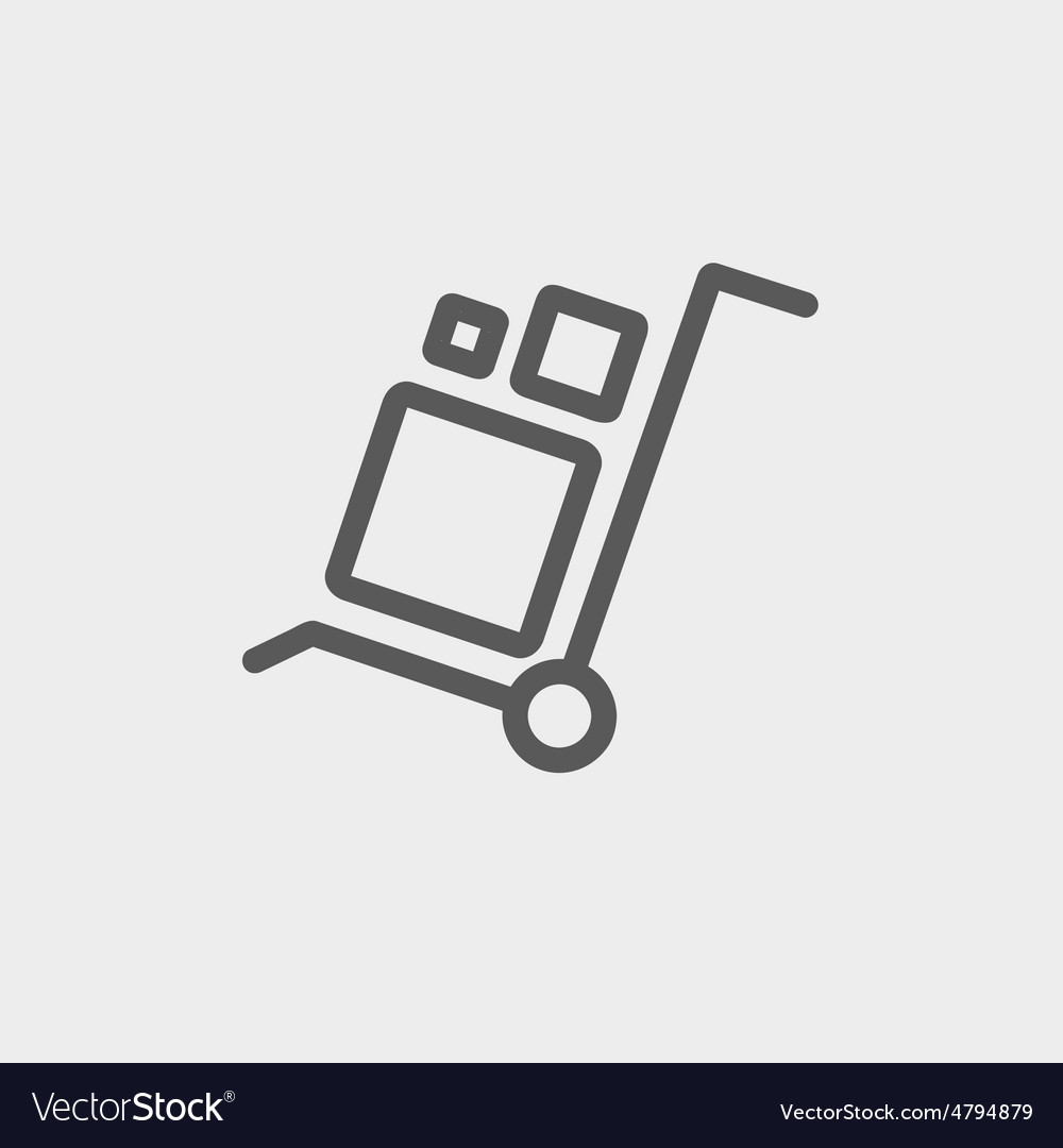 Trolley with boxes thin line icon vector | Price: 1 Credit (USD $1)