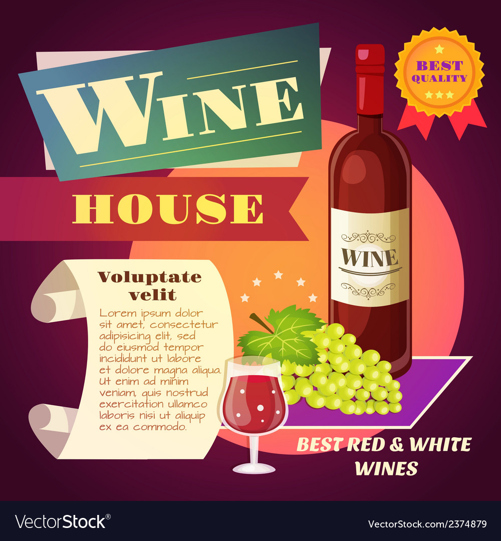 Wine house poster vector | Price: 1 Credit (USD $1)