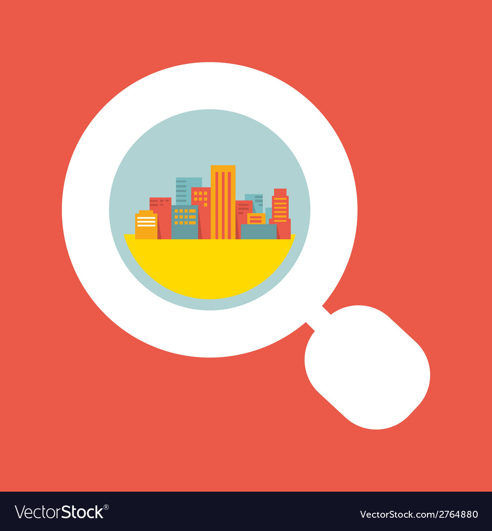 A big city considered a magnifying glass vector | Price: 1 Credit (USD $1)