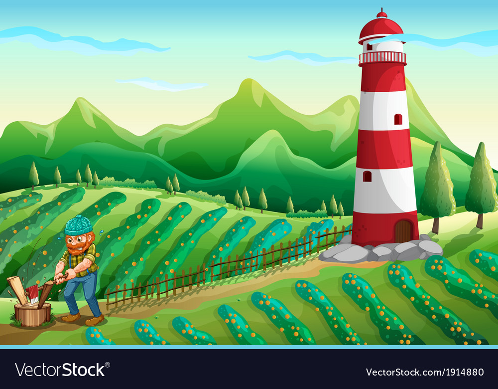 A lumberjack at the farm with a tower vector | Price: 3 Credit (USD $3)