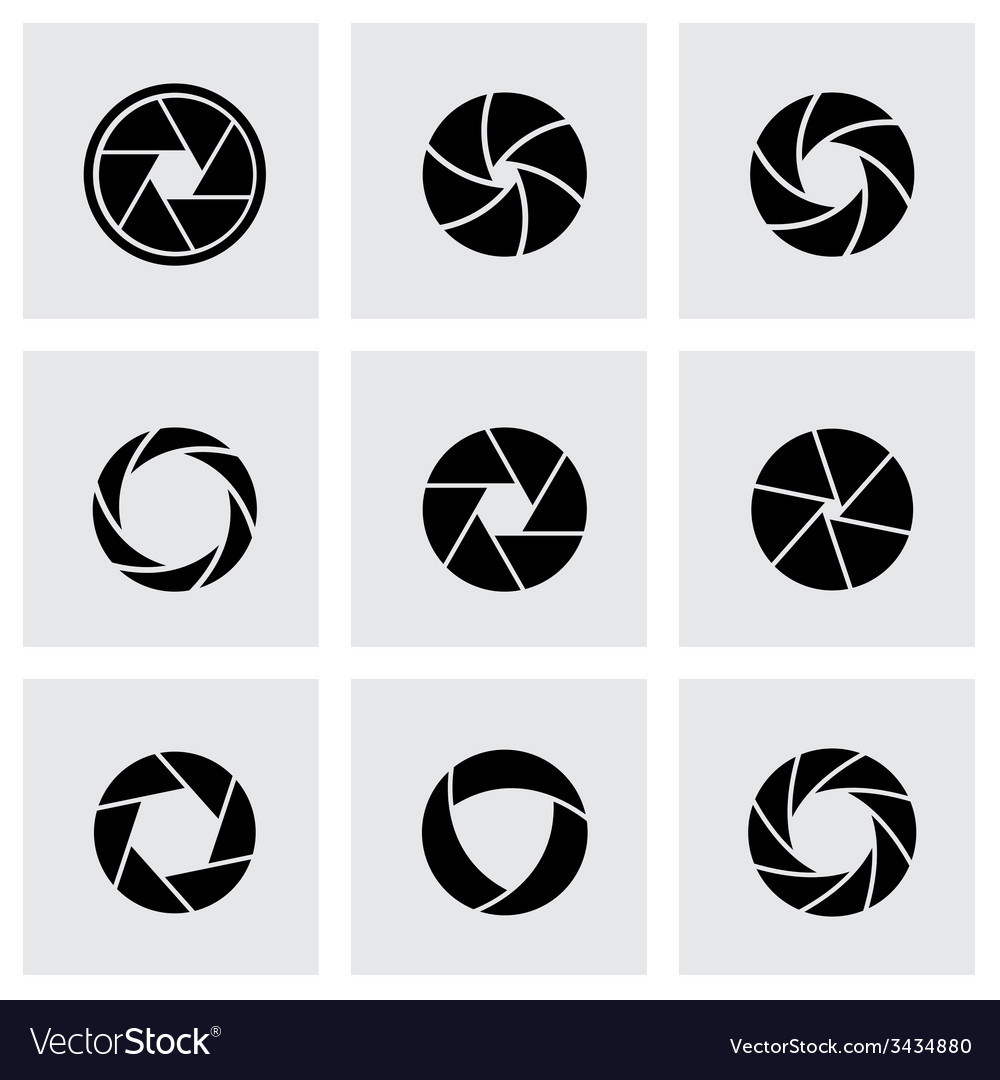 Black canera shutter icon set vector | Price: 1 Credit (USD $1)