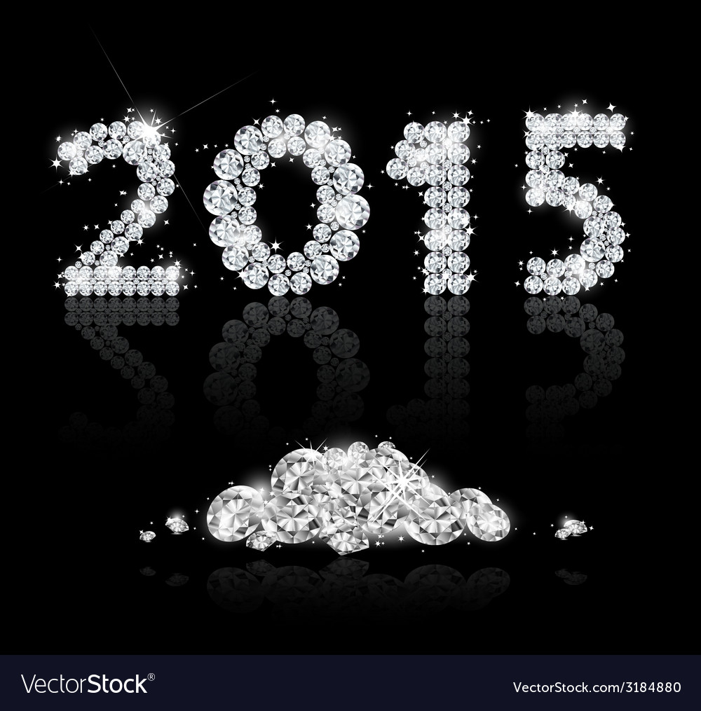 Brilliant text for the new year 2015 with diamonds vector | Price: 1 Credit (USD $1)