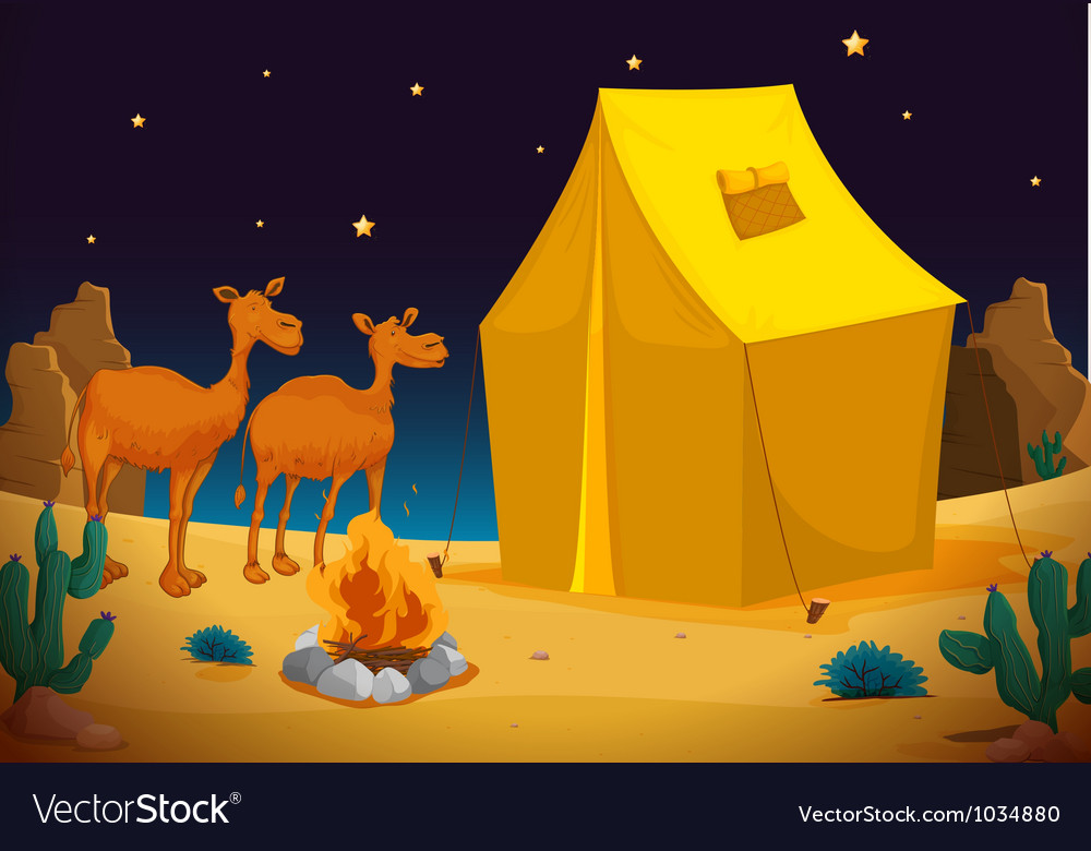 Camels and tent vector | Price: 1 Credit (USD $1)