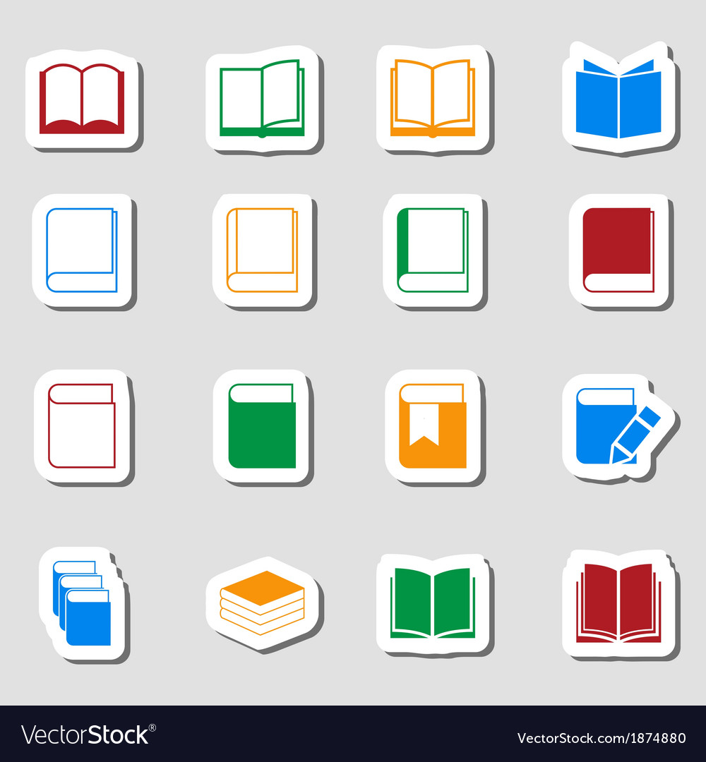 Color book icon set as labes vector | Price: 1 Credit (USD $1)