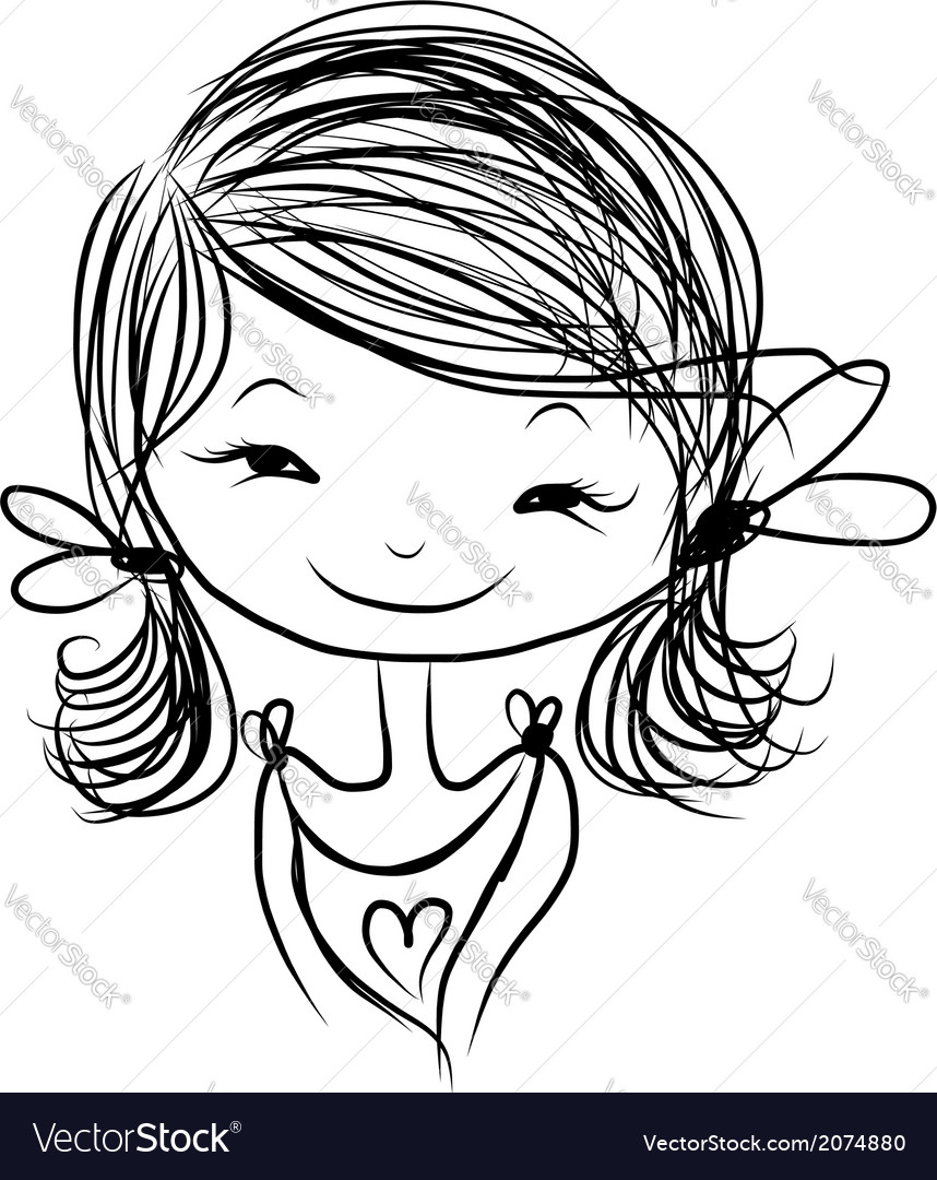 Cute girl smiling sketch for your design vector | Price: 1 Credit (USD $1)