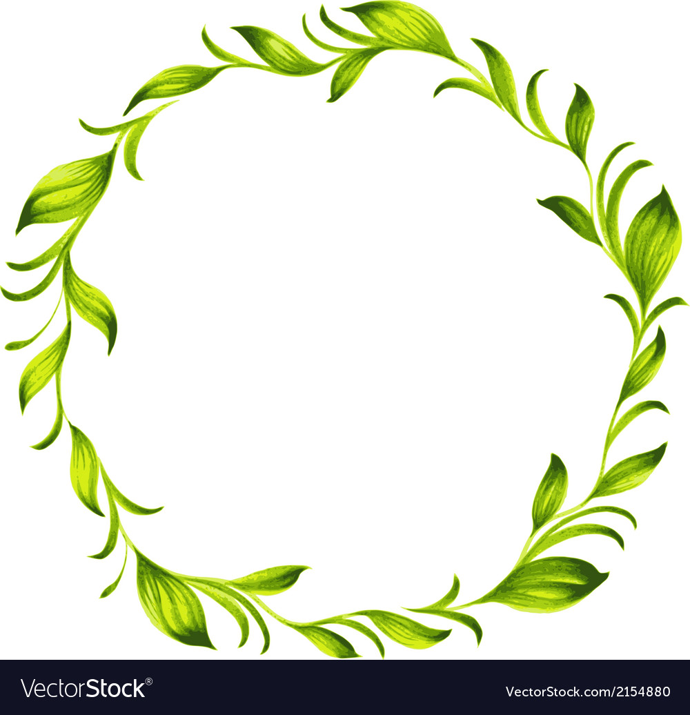 Decorative circle branch of green tea vector | Price: 1 Credit (USD $1)
