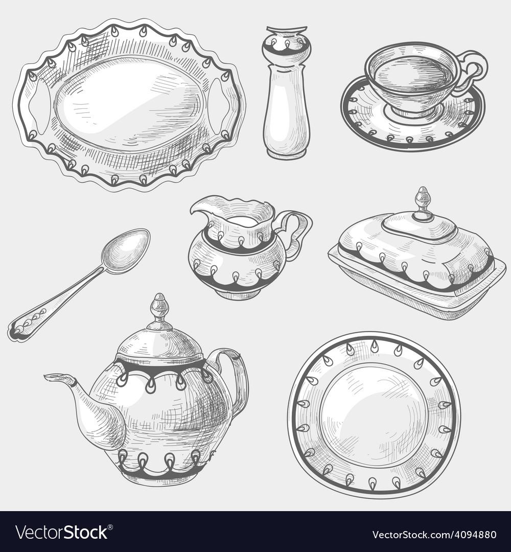 Hand drawn doodle sketch kitchen porcelain vector | Price: 1 Credit (USD $1)