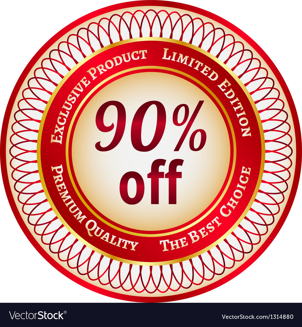 Label on 90 percent discount vector | Price: 1 Credit (USD $1)