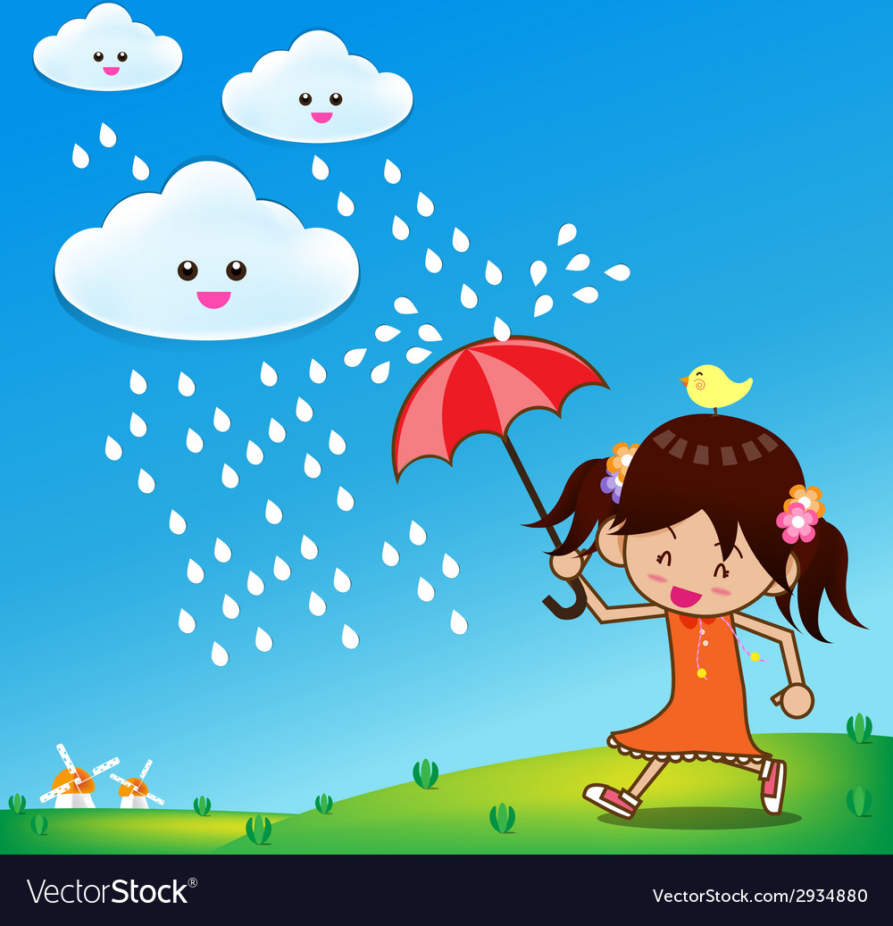 Little girl in rain day 001 vector | Price: 1 Credit (USD $1)