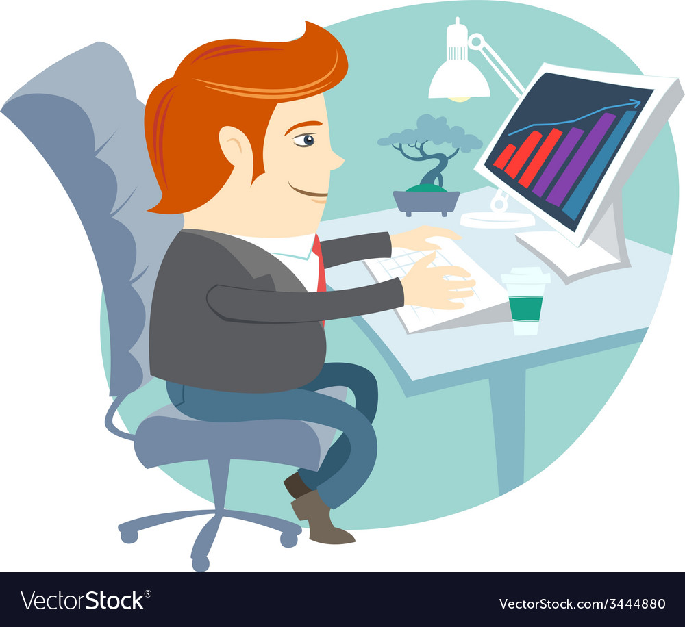 Office man sitting at his working desk vector | Price: 1 Credit (USD $1)