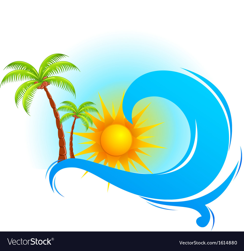 Sea wave with palm tree vector | Price: 1 Credit (USD $1)
