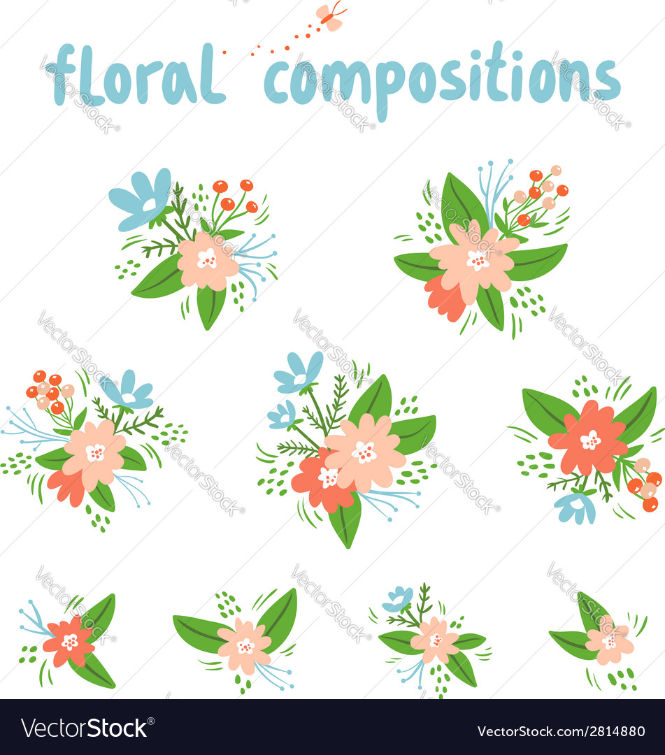 Vintage floral compositions collection vector | Price: 1 Credit (USD $1)