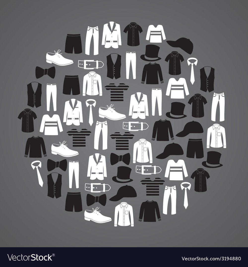 White and black mens clothing icons in circle vector | Price: 1 Credit (USD $1)