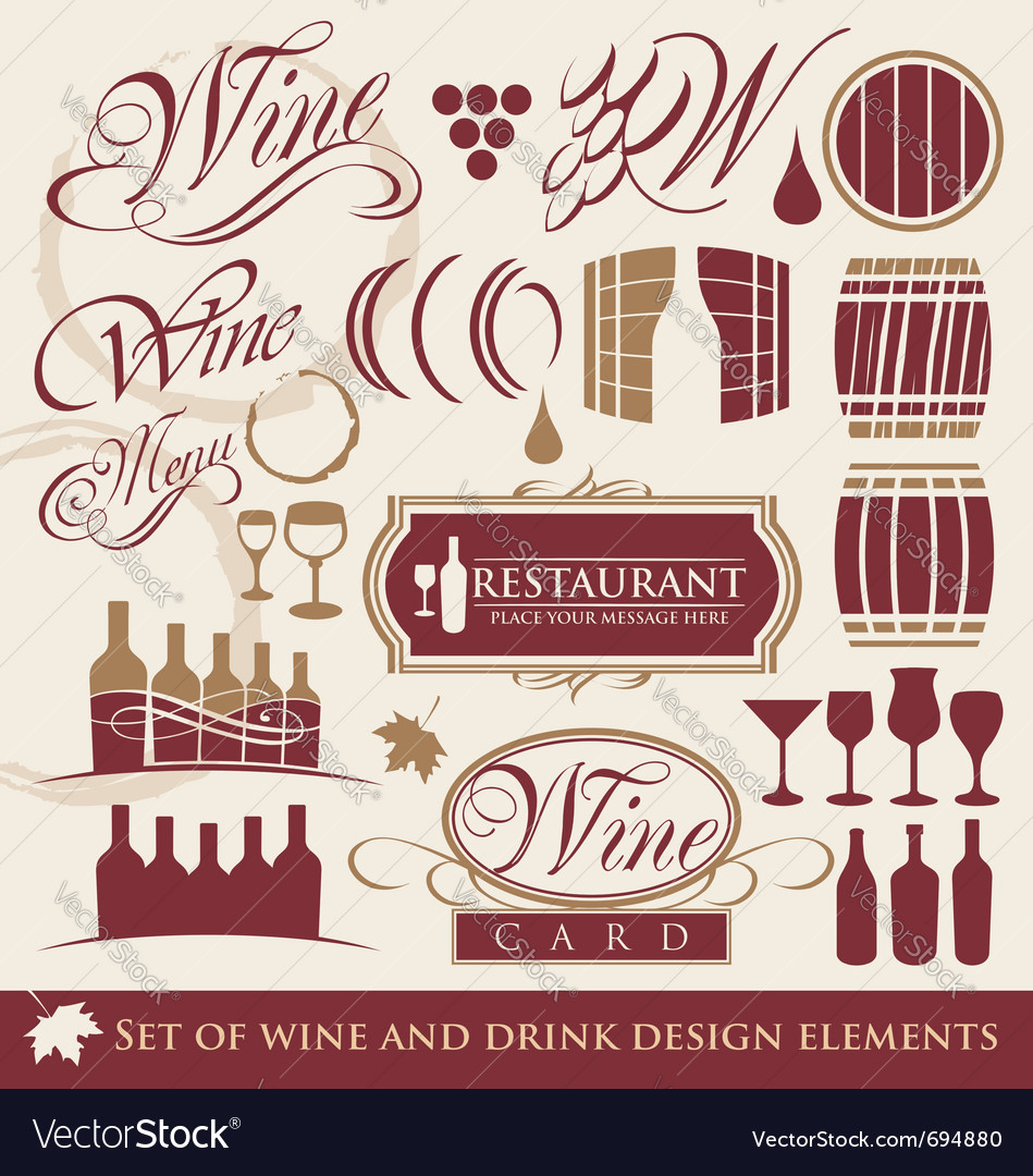 Wine and drink design elements vector | Price: 1 Credit (USD $1)