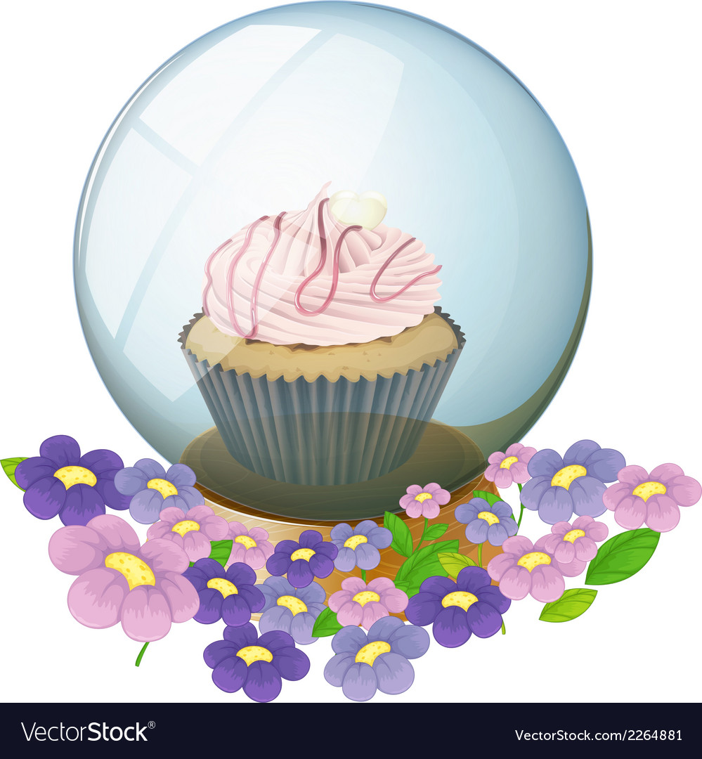 A crystal ball with a cupcake and flowers vector | Price: 1 Credit (USD $1)