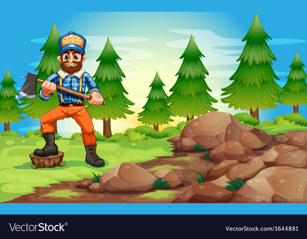 A woodman holding an axe near the rocky area vector | Price: 3 Credit (USD $3)