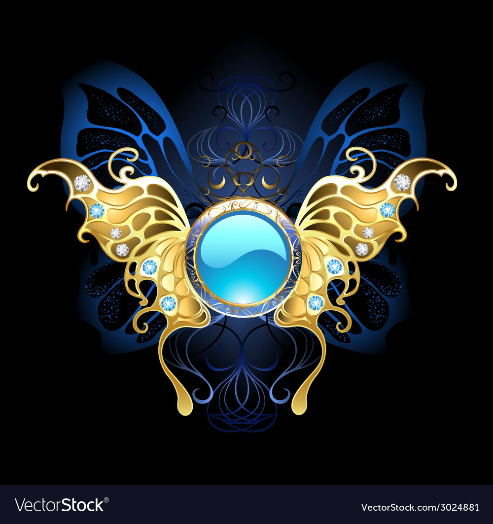 Banner with gold wings of a butterfly vector | Price: 3 Credit (USD $3)