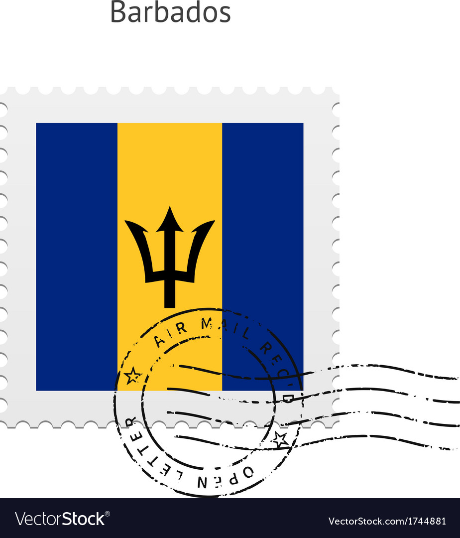 Barbados flag postage stamp vector | Price: 1 Credit (USD $1)
