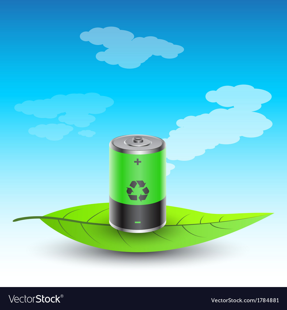 Battery on leave vector | Price: 1 Credit (USD $1)