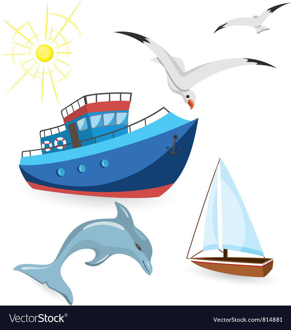Boats dolphin seagulls vector | Price: 3 Credit (USD $3)