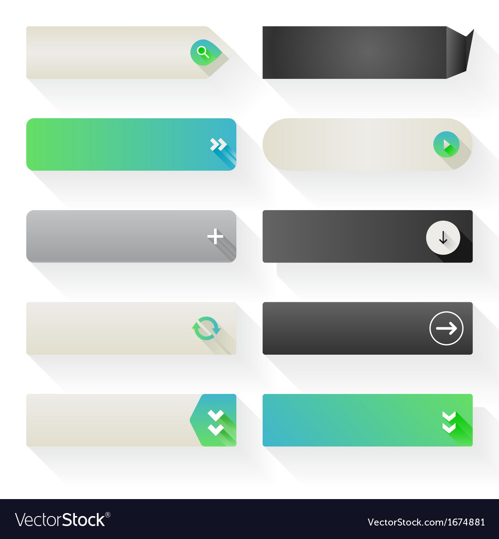 Flat web button elements vector