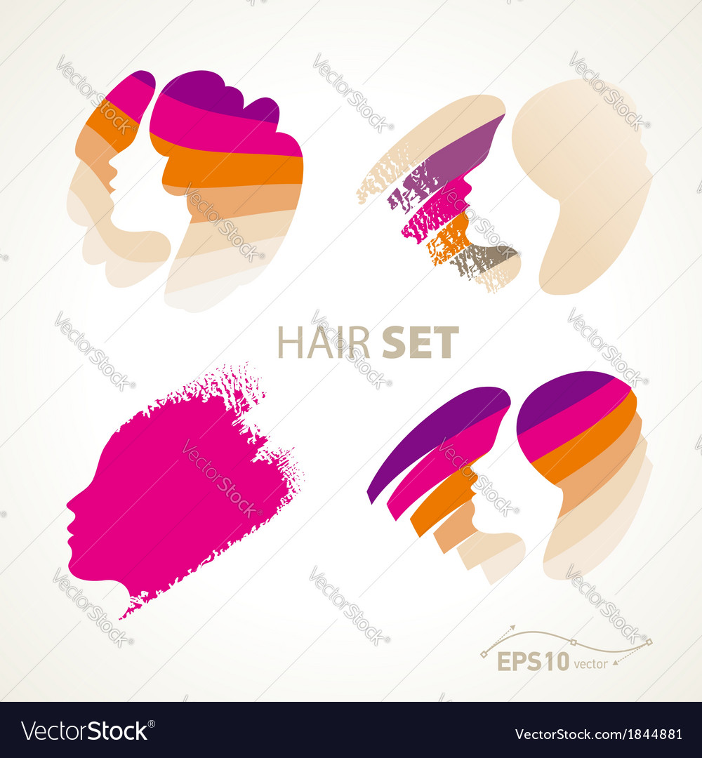 Hair emblem sign set vector | Price: 1 Credit (USD $1)